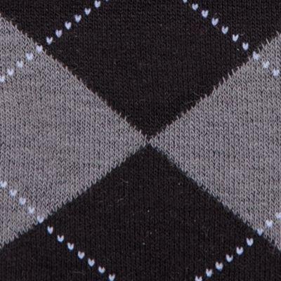 Dress Socks: Black/Graphite Heather HUE Argyle Knee Sock