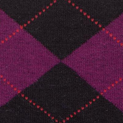 Dress Socks: Black/Deep Burgandy HUE Argyle Knee Sock