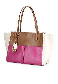 Lauren Ralph Lauren Newbury Leather Color-Blocked Tote
