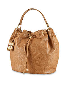 Lauren Ralph Lauren Leather Paulden Drawstring Bag