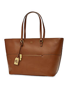 Lauren Ralph Lauren Whitby Pocket Leather Tote