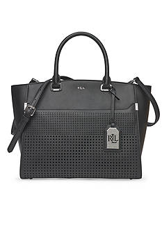Lauren Ralph Lauren Sutton Cutout Leather Tote