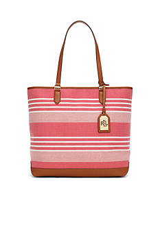 Lauren Ralph Lauren Striped Cotton Canvas Tote
