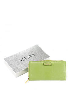 Lauren Ralph Lauren Banbury Leather Snake Zip-Around Wallet