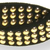 Womens Hats: Black/Gold Riviera NO SLIP TWISTED STUDDED HW