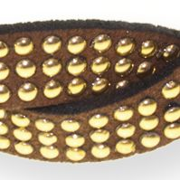 Womens Hats: Brown/Gold Riviera NO SLIP TWISTED STUDDED HW