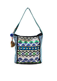 STEVEN Beaded Fabric Hobo Bag