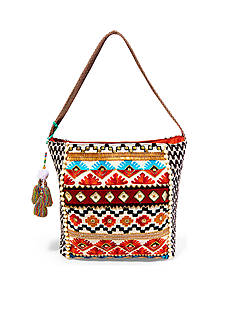 STEVEN Beaded Fabric Hobo Bag