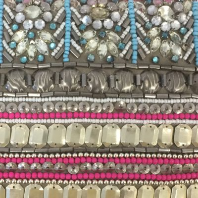 Clutches: Pink Multi Big Buddha Beaded Wristlet