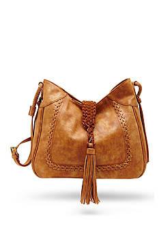 STEVEN Woven Tassel Hobo Bag