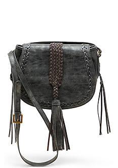 STEVEN Woven Tassel Saddle Bag