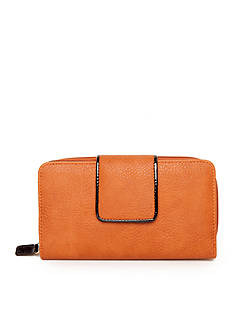 New Directions Pebble Patent Tab Zip Around Wallet