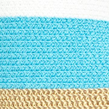 Handbags and Wallets: Turquoise Multi New Directions Straw Stripe Chain Tote