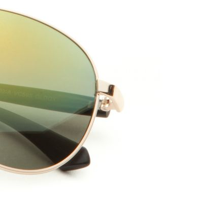 Vince Camuto: Gold Vince Camuto Flash Lens Aviator Sunglasses