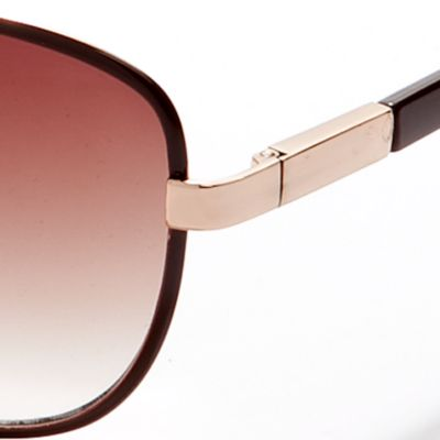 Vince Camuto: Brown Vince Camuto Teardrop Aviator Sunglasses