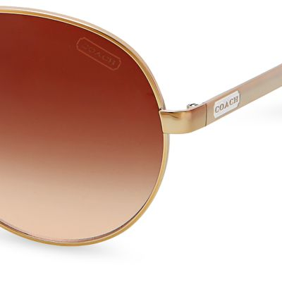Womens Sunglasses: Gold/White COACH Elaina Sunglasses
