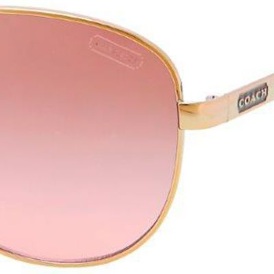 Coach: Gold/Pink COACH AVIATOR SUNGLASSES