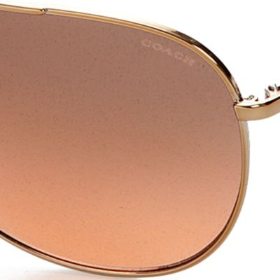 Womens Sunglasses: Black/Gold COACH Kissing Cs Aviator Sunglasses