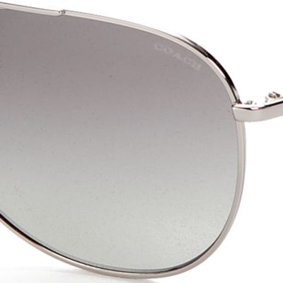 Womens Sunglasses: Black/Silver COACH Kissing Cs Aviator Sunglasses