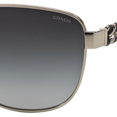 Handbags & Accessories: Coach Accessories: Silver/Black COACH Downtown Whiplash Chain Aviator Sunglasses
