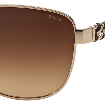 Womens Sunglasses: Gold/Tortoise COACH Downtown Whiplash Chain Aviator Sunglasses