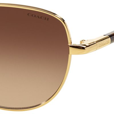 Handbags & Accessories: Coach Accessories: Dark Tortise COACH Uptown Bead Chain Aviator Sunglasses