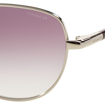 Womens Sunglasses: Purple COACH Uptown Bead Chain Aviator Sunglasses