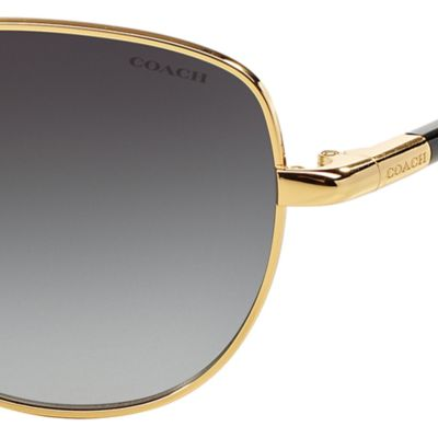 Womens Sunglasses: Gold Black COACH Uptown Bead Chain Aviator Sunglasses