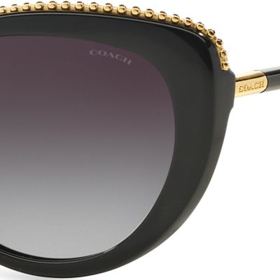 Womens Sunglasses: Black COACH Uptown Beaded Chain Cateye Sunglasses