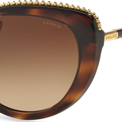 Womens Sunglasses: Tortoise COACH Uptown Beaded Chain Cateye Sunglasses