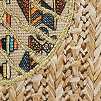 Sakroots: Tan Straw Spirit Desert Sakroots Campus Mini Straw Bag
