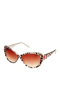 Betsey Johnson Animal Cat with Heart Temple Sunglasses