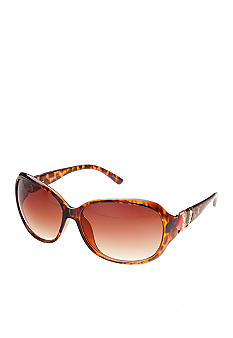 Betsey Johnson Square with Heart Temple Logo Sunglasses