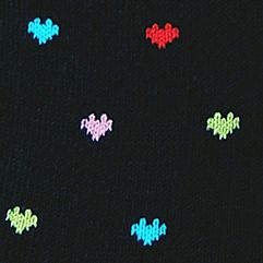 Womens Socks: Black Hot Sox Pindot Hearts Trouser Crew Socks
