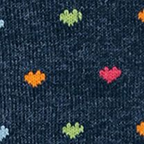 Hot Sox: Denim Heather Hot Sox Pindot Hearts Trouser Crew Socks