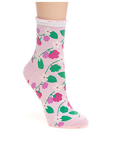 Hot Sox Scalloped Cuff Raspberry Mid Crew Sock