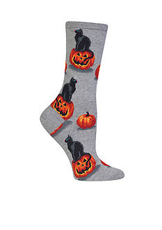 Hot Sox Black Cat and Pumpkin Socks - Single Pair