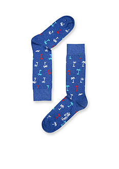 Happy Socks Palm Beach Crew Socks - Single Pair