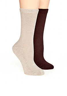 New Directions Solid Flat Knit 2 Pack of Socks