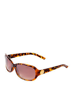 New Directions Plastic Brown Tortoise Rectangle Sunglasses