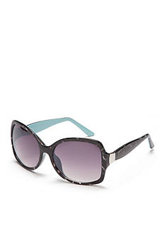 New Directions Plastic Black and White Tortoise Sunglasses