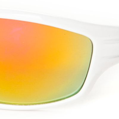 Athlix: White/Red Athlix Plastic Sports Wrap Sunglasses