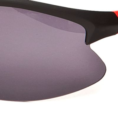 Athlix: Oxford-Black/Red Athlix Plastic Sports Wrap Sunglasses