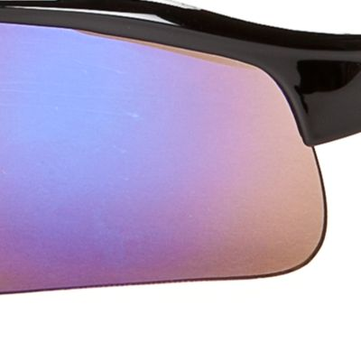 Athlix: Ox-Black Blue Athlix Semi-Rimless Plastic Mirrored Sports Wrap Sunglasses