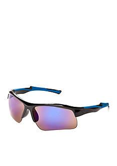 Athlix Semi-Rimless Plastic Mirrored Sports Wrap Sunglasses