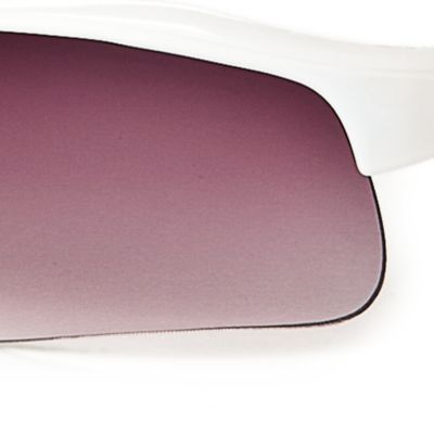 Athlix: Grey/White Athlix Semi-Rimless Plastic Mirrored Sports Wrap Sunglasses