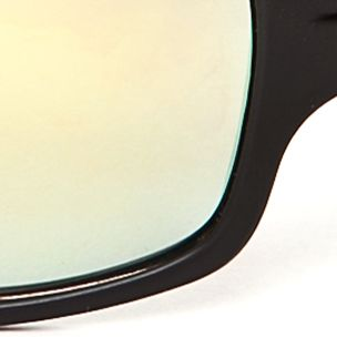 Athlix: Matte Black Athlix Rectangle Plastic Sports Wrap Sunglasses