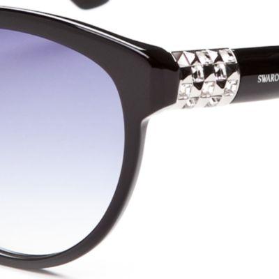 Womens Sunglasses: Black SWAROVSKI&#174 Crystal Temple Round Sunglasses