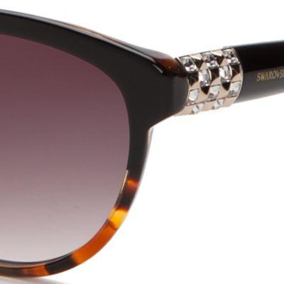 Womens Sunglasses: Black/Brown SWAROVSKI&#174 Crystal Temple Round Sunglasses