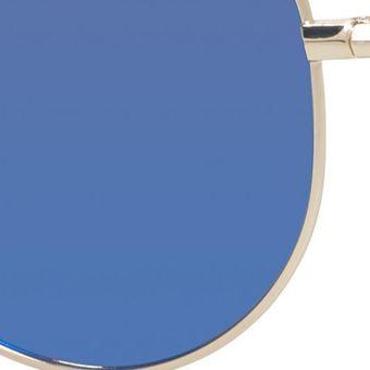 Womens Sunglasses: Blue Polaroid Mirror Lens Aviator Sunglasses